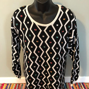 80s Zig Zag Emerald Sweater Bedazzled Crystal